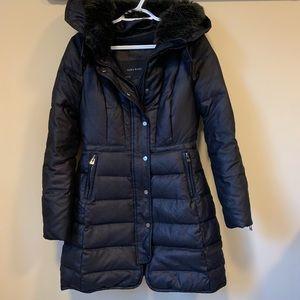 Zara Basic Down Feather Faux Fur Trim Hood Jacket